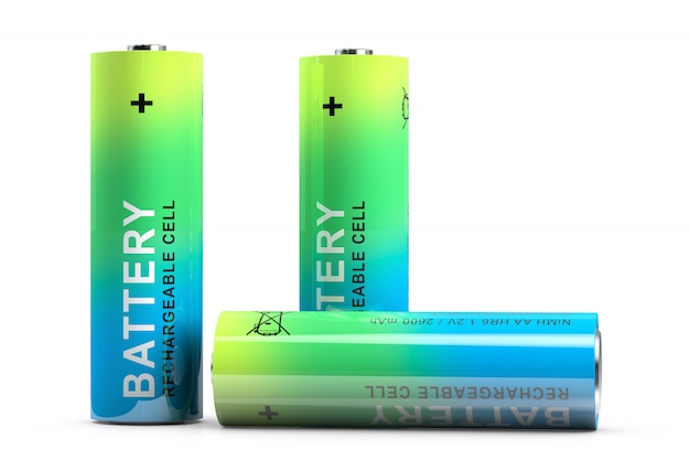 充電式の指型バッテリー3本。白で隔離されます。3dレンダリング。