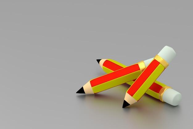 3本の鉛筆テキスト用のスペースをコピーします。 3dレンダリング