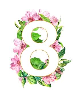 3月8日-花カード。春のピンクの花、桜、緑の葉。水彩