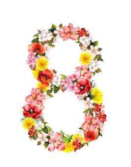 花-3月8日の花カード。女性の日の水彩画