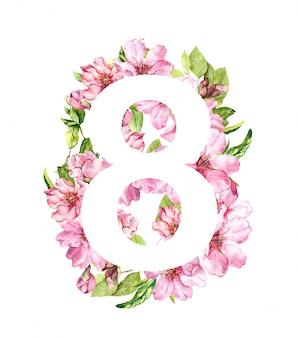 3月8日の花カード。春の桜の花とピンクの花。女性の日の水彩