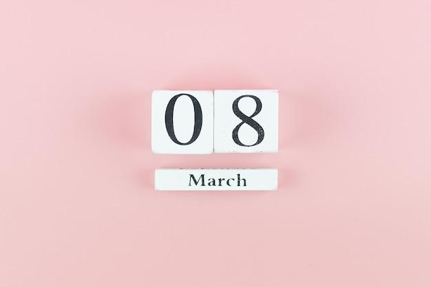 テキストのコピースペースを持つ3月8日のカレンダー。愛、平等、国際的な女性の日のコンセプト