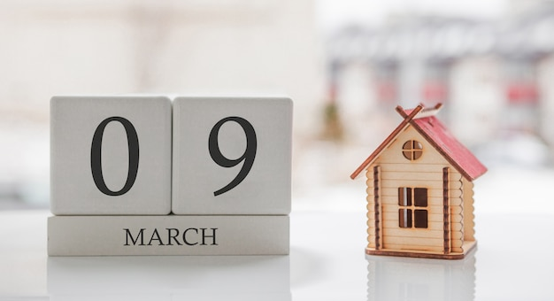 3月のカレンダーとおもちゃの家。月の9日目。印刷のためのハードメッセージまたは記憶