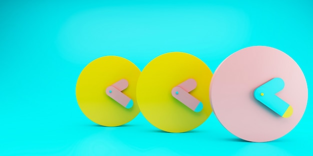 3 будильника с подсветкой синего фона желтого и розового цвета, цветная концепция времени, минимальная композиция, стильные абстрактные часы, место для текста и копии. 3d иллюстрации.