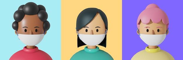 3 만화 캐릭터 아바타, 마스크를 쓰고 귀여운 여자.