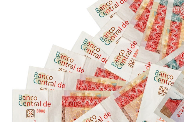 3 cuban pesos convertibles bills lies in different order isolated on white. local banking or money making concept.