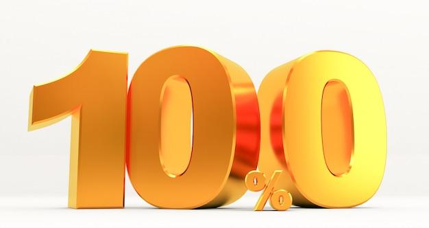ゴールドセールの3 dレンダリング100%、ゴールデンサインオフ割引サイン、セールプロモーション、特別オファー100%オフ割引タグ、