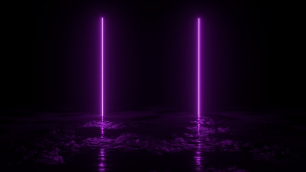 3 dの抽象的な背景レンダリング、地面に2つのピンクのネオンの光、retrowaveとsynthwaveの図。