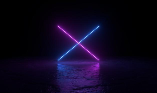 3 dの抽象的な背景のレンダリング、地面に2つのピンクとブルーのネオンの光、retrowaveとsynthwaveの図。