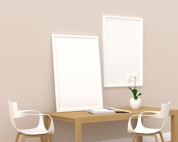 モダンなリビングルーム、3 dレンダリング、3 dイラストレーションのモックアップのための2つのフォトフレーム