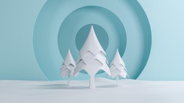 3 dレンダリング、メリークリスマスと新年あけましておめでとうございますコンセプト、雪シーンデザイン、3 dイラストと低ポリ松の木