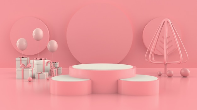 幾何学的形状のクリスマスツリーシーンコンセプト装飾3 dレンダリング-3 dイラストレーション