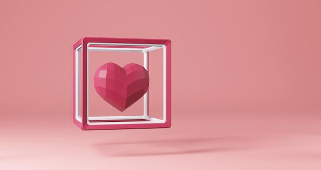 バレンタインの3 dレンダリング。ピンクの背景、ミニマリストにキューブフレームに浮かぶピンクの心。愛のシンボル。モダンな3 dレンダリング。