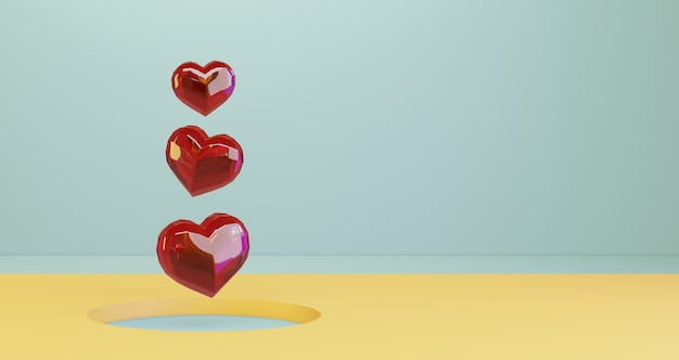 バレンタインの3 dレンダリング。黄色い丸穴の背景、ミニマリストに浮かぶ赤いクリスタルハート。愛のシンボル。モダンな3 dレンダリング。