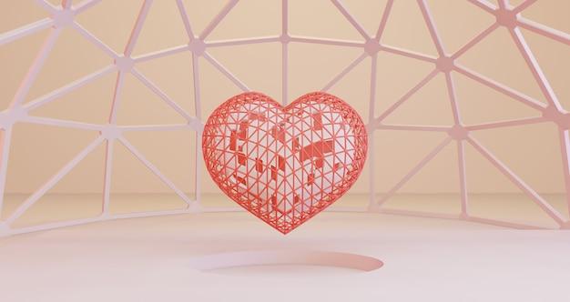 バレンタインの3 dレンダリング。白い円の穴の背景、ミニマリストにフレームに浮かぶ白いハート。愛のシンボル。モダンな3 dレンダリング。