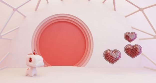 バレンタインの3 dレンダリング。黄金の心とピンクの円の背景、ミニマリストにかわいいユニコーン。愛のシンボル。モダンな3 dレンダリング。