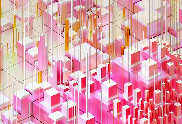 建物やコンピューターの詳細とピンクの黄色と白のグラデーションカラーの抽象的な都市景観で描かれたマットな金属素材のキューブ、ボックスまたはバーに基づくシュールな3 d背景を持つ3 dレンダリングアート