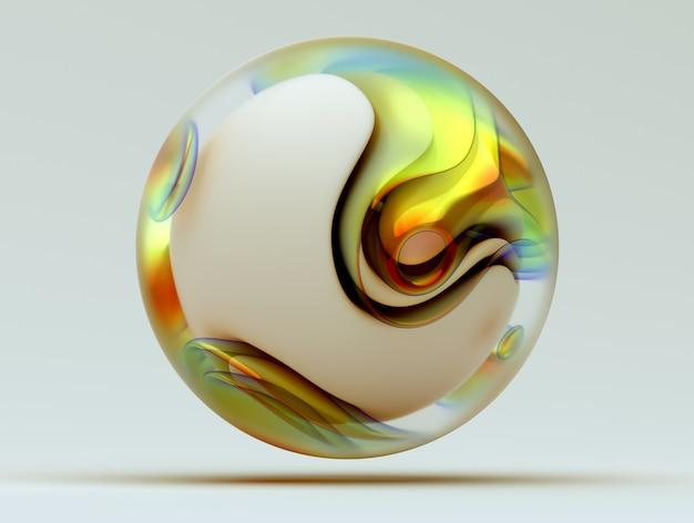 有機曲線のシュールな3 dボールの抽象的な芸術の3 dレンダリングガラスの丸い波状の滑らかで柔らかい生物学的フォームと黄色の緑とオレンジ色の色の部分を持つ白いマットプラスチック材料