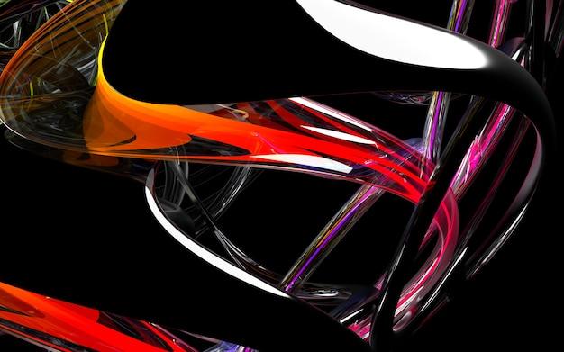 ガラスのローター詳細の一部と抽象的なアート3 d背景の3 dレンダリングと赤い光で金属部分