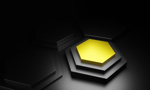 黒の背景を持つ3 dの六角形の表彰台。 3 dイラスト。