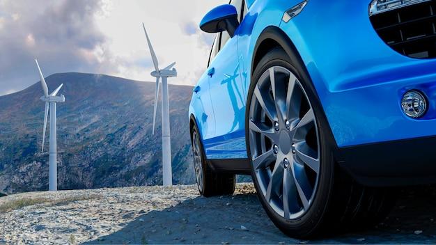 風車と山の背景に3 d車セダン、自動車製品を広告するための概念3 dレンダリング