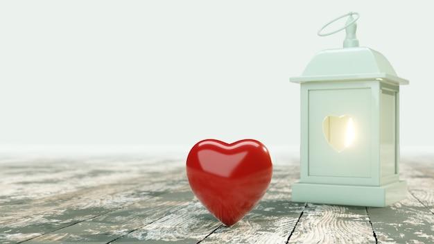 バレンタインデーの背景。心と古い木製のテーブル上のランタン。 3 dイラスト。 3 dのレンダリング。
