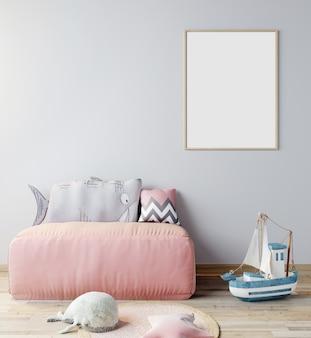 子供部屋のポスターフレームのモックアップ、ピンクのソファー、3 dレンダリング、3 dイラストと北欧スタイルのインテリアの背景