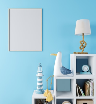 子供部屋のポスターフレームのモックアップ、水色の壁、3 dレンダリング、3 dイラストと北欧スタイルのインテリアの背景