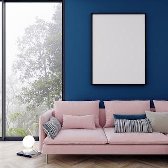モダンなインテリアの背景、リビングルーム、スカンジナビアスタイル、3 dレンダリング、3 dイラストでポスターフレームのモックアップします。
