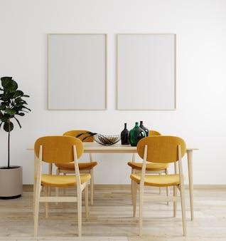 モダンなインテリアの背景、リビングルーム、スカンジナビアスタイル、3 dレンダリング、3 dイラストのモックアップポスターフレーム