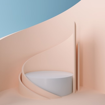 表彰台ディスプレイまたはショーケース、3 dレンダリングのためのモダンなミニマリストモックアップと3 dの幾何学的なシーンデザイン。
