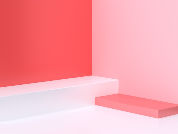 3 dの最小限の抽象ピンク赤背景壁コーナーシーン広場表彰台3 dレンダリング