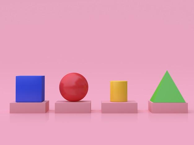 3 dの幾何学的形状の立方体球シリンダーピラミッド床反射ピンクの背景3 dのレンダリング
