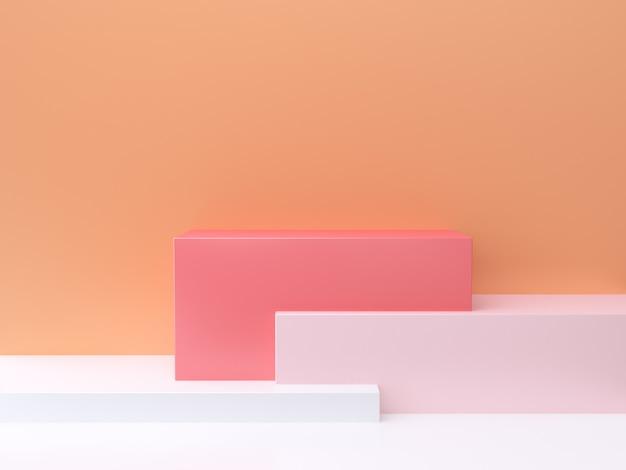 3 dの抽象的な最小限の背景オレンジ色の壁、正方形、ピンク、白の3 dレンダリング