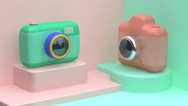 3 dのピンクの緑のおもちゃカメラ漫画スタイルコーナー抽象的なシーンの壁の最小限の3 dレンダリング