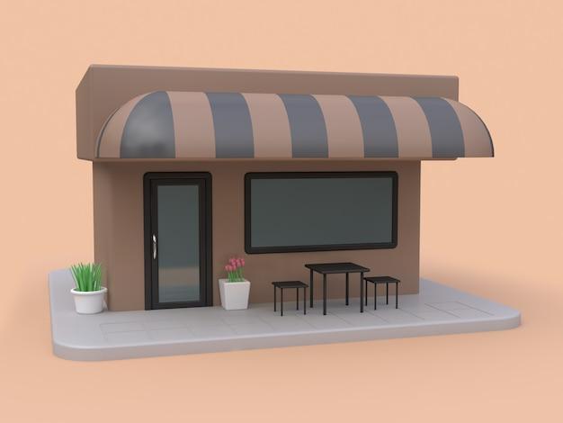茶色のカフェ茶色の黒いテーブルセット3 dレンダリング3 dレンダリング