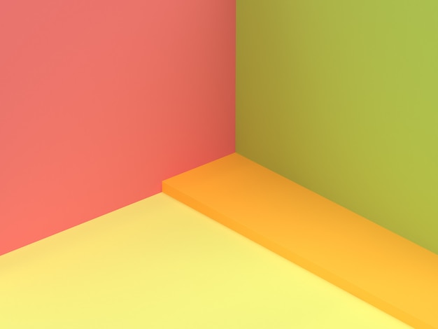 3 dの壁のコーナー赤ピンクグリーン抽象的な最小限の3 dレンダリング