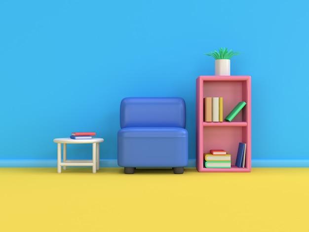 3 d漫画スタイルのソファ本棚最小限の3 dレンダリング青い壁黄色床シーン、教育。