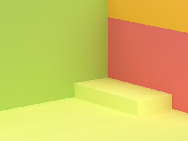 3 d背景緑壁床正方形最小限のコーナー3 dレンダリング
