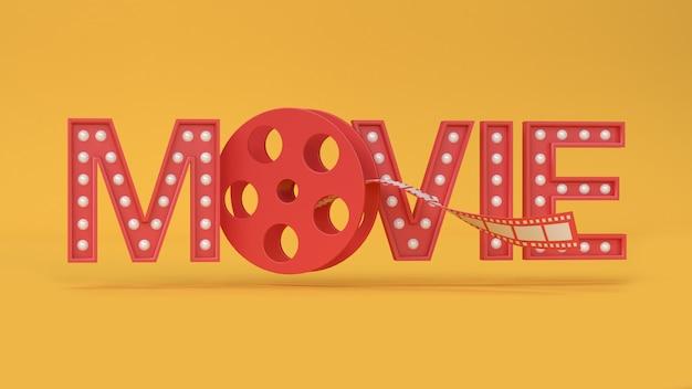 赤い3 d映画タイプテキスト文字ロールフィルム黄色の背景3 dレンダリング映画、映画、エンターテイメント。