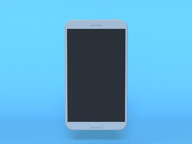 3 dの白いスマートフォンモックアップブラックディスプレイ青い背景3 dレンダリング