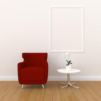 モダンなリビングルーム、3 dレンダリング、3 dイラストレーションのモックアップのための空白のフォトフレーム