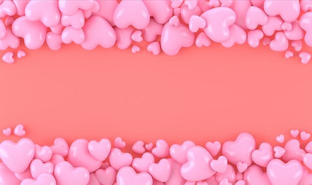 サンゴの背景、テキストまたは著作権、かわいい背景、バレンタインコンセプト、3 dレンダリングのためのスペースとピンクの3 dハート形在庫