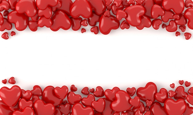 3 dレンダリング、白い背景、テキストまたは著作権、バレンタイン背景の概念のためのスペースと赤の3 dハート形在庫