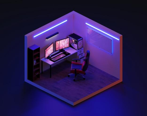 3 dレンダリングゲームルーム等尺性。、3 dイラストレーション。