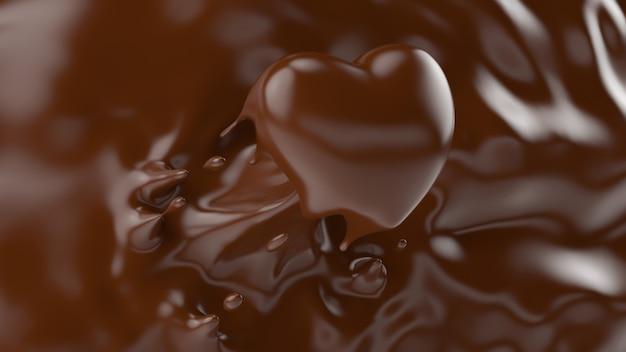 バレンタインや愛の概念、3 dレンダリング、3 dイラストのハートの形にしぶきチョコレートのスプラッシュ。