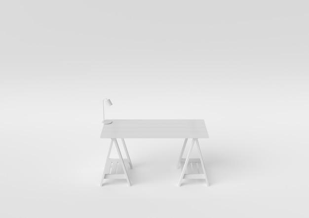 デスクホワイトデザイン作成紙ワークスペースデスクトップ最小限の概念3 dレンダリング、3 dイラストレーション。