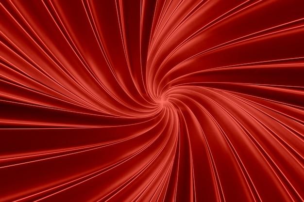 トンネル3 dイラストでねじれた3次元バンドの抽象的な赤い背景