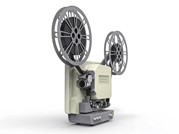 白い背景に分離された3 d映画フィルムプロジェクター。 3dレンダリング。