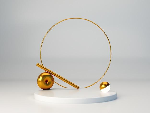 3 dレンダリング。幾何学的な形をした最小限の3dシーン。白色の背景。抽象的な背景の金の指輪と最小限の白い表彰台。